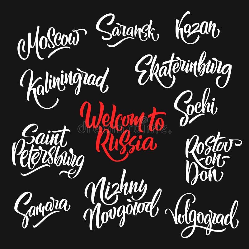 Met de hand geschreven Onthaal aan Rusland en het van letters voorzien van Russische stedenmo royalty-vrije stock foto