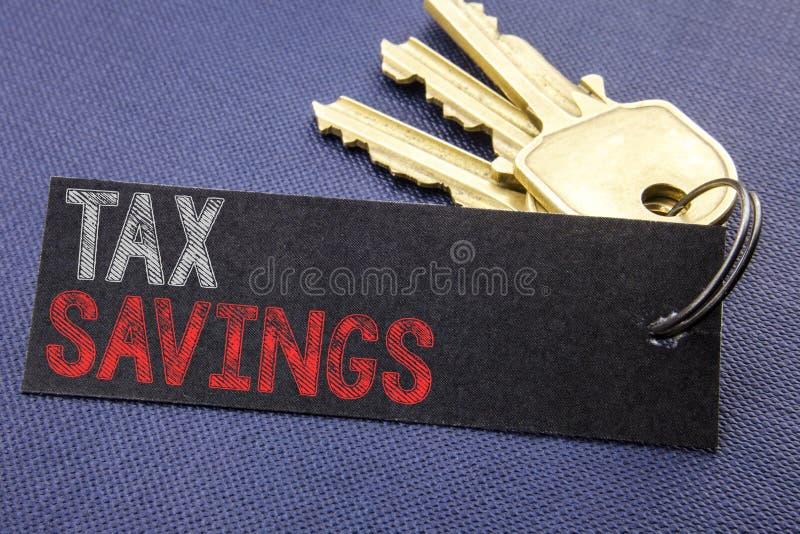 Met de hand geschreven tekst die Tex Savings tonen Bedrijfsconcept die voor Belastingsbesparingen Extra die Geldterugbetaling sch royalty-vrije stock fotografie