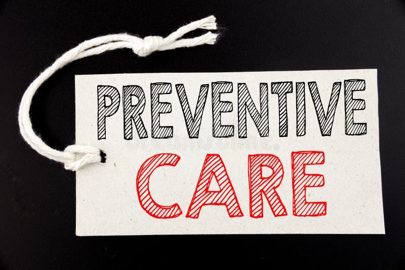 Met de hand geschreven teksttitel die Preventieve Zorg tonen Bedrijfsconcept die voor de Zorg schrijven die van de Gezondheidsgen royalty-vrije stock foto's
