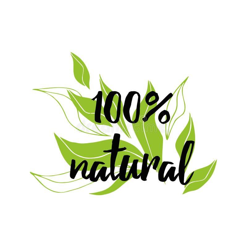 Met de hand geschreven vector van letters voorziend teken natuurlijk biologisch product voor restaurant, koffiemenu royalty-vrije illustratie