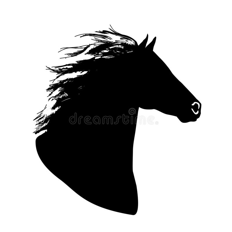 Met de hand getekend zwart vectorpaardenkoplogo silhouet stock illustratie