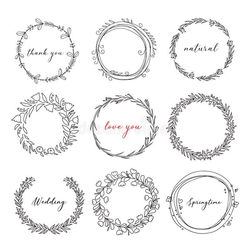Met de hand getekende florale kreet in doodle stijl royalty-vrije illustratie