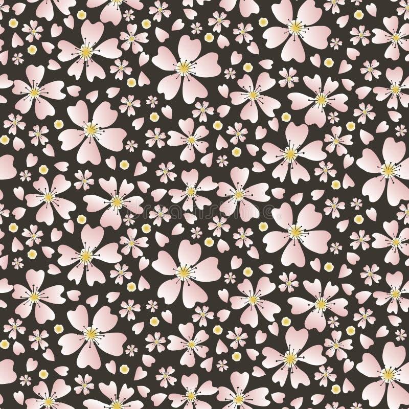 Met de hand getekende kersenbloesem naadloos patroon Japanse stijl getoverd met roodkleurige donkerflorale donsachtige achtergron royalty-vrije illustratie