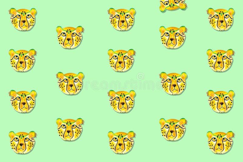 Met de hand de getrokken illustratie van de jachtluipaardwaterverf, stock fotografie