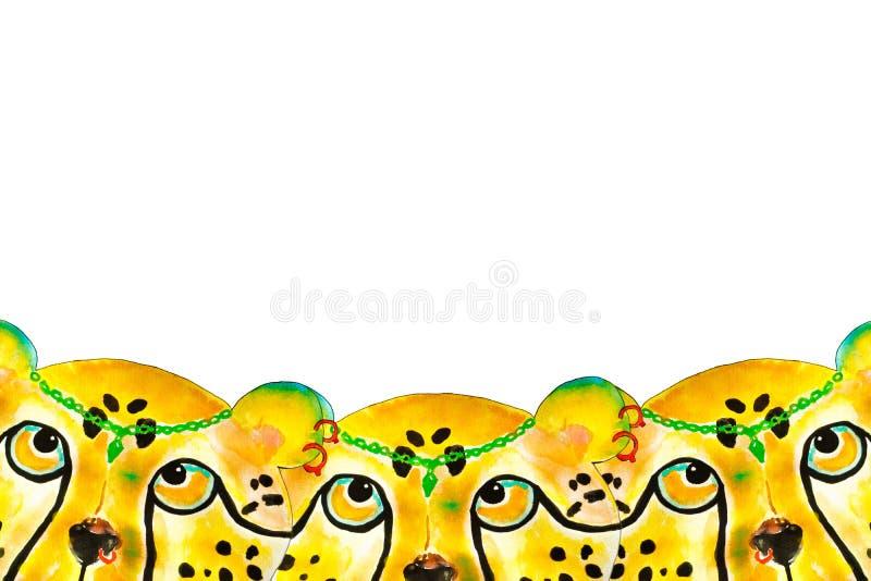 Met de hand de getrokken illustratie van de jachtluipaardwaterverf, stock afbeeldingen