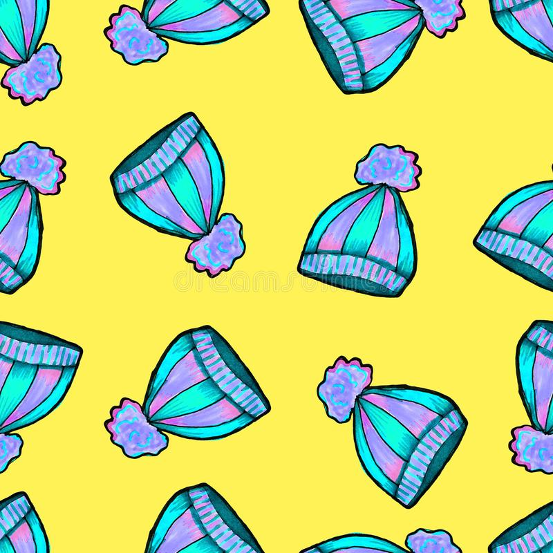 Met de hand getrokken Kerstmis naadloos patroon Blauwe gebreide hoed op een gele achtergrond Gelukkig Nieuwjaar stock illustratie
