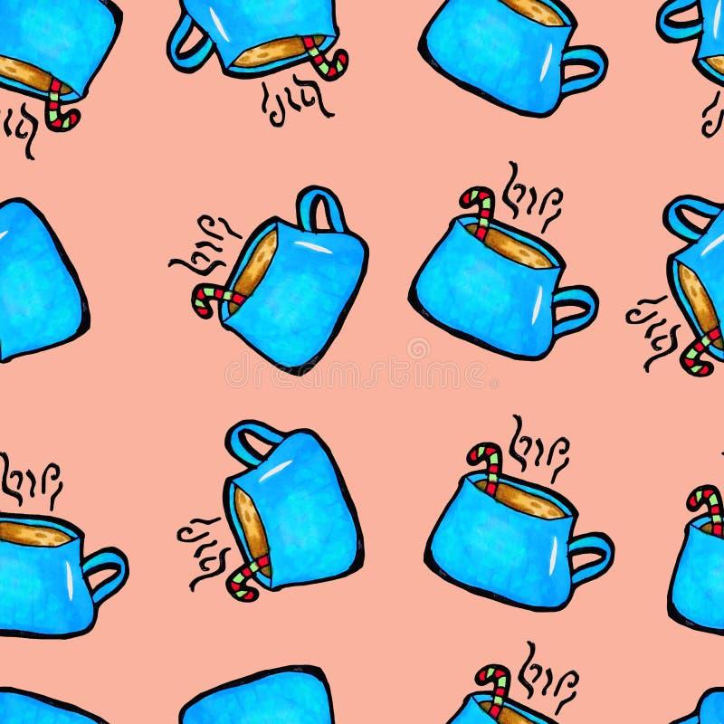 Met de hand getrokken Kerstmis naadloos patroon Blauwe kop op een roze achtergrond Koffie, cacao, kaneel Nieuw jaar stock illustratie