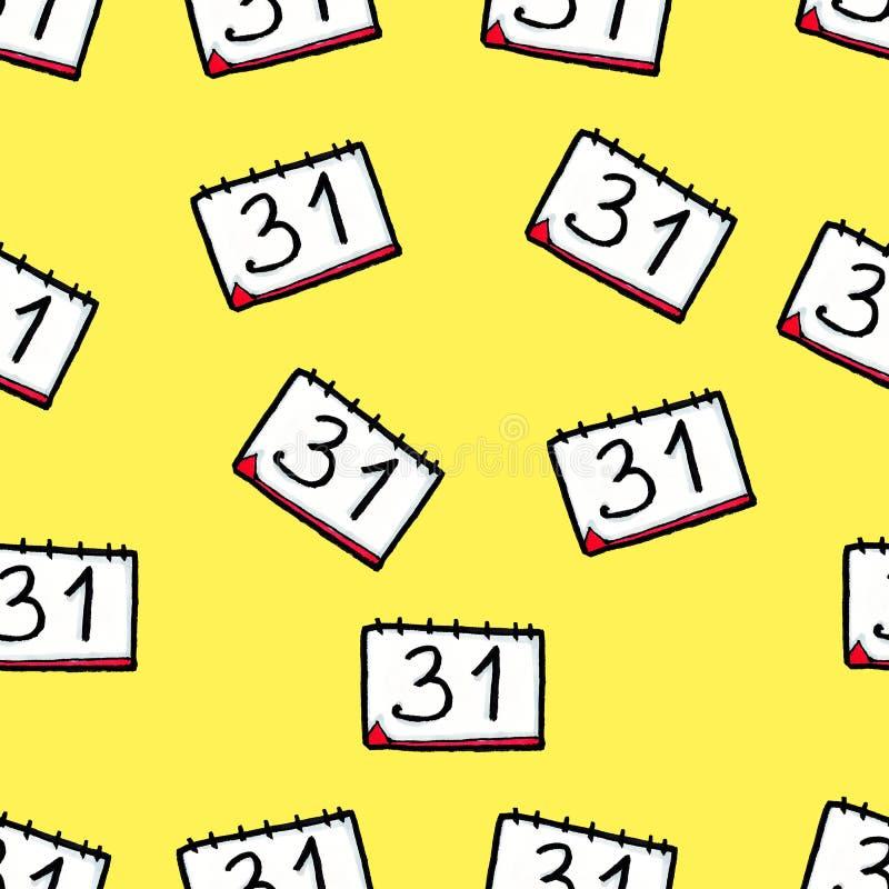 Met de hand getrokken Kerstmis naadloos patroon Kalender op een gele achtergrond Nieuwe Year' s Vooravond 31 december royalty-vrije illustratie