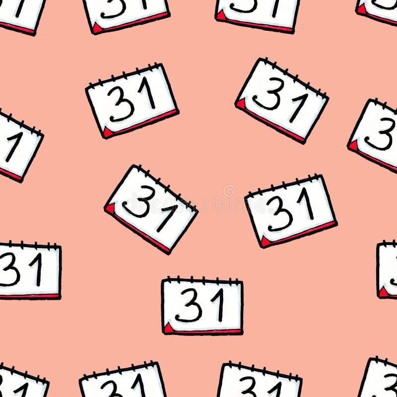Met de hand getrokken Kerstmis naadloos patroon Kalender op een roze achtergrond Nieuwe Year' s Vooravond 31 december royalty-vrije illustratie