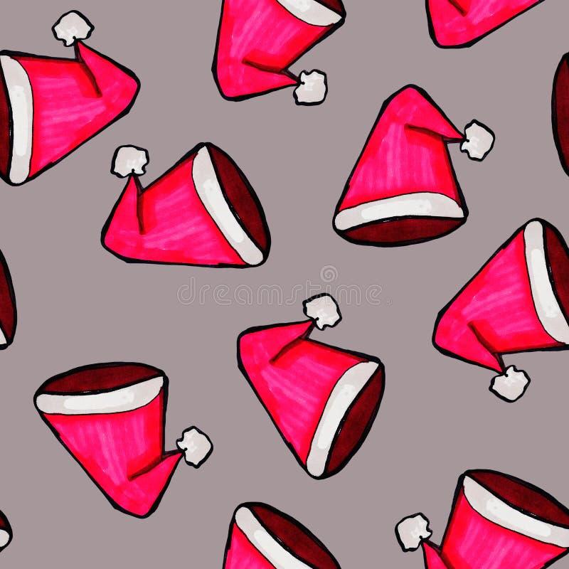 Met de hand getrokken Kerstmis naadloos patroon Rode Santa Claus-hoed op een grijze achtergrond Gelukkig Nieuwjaar royalty-vrije illustratie
