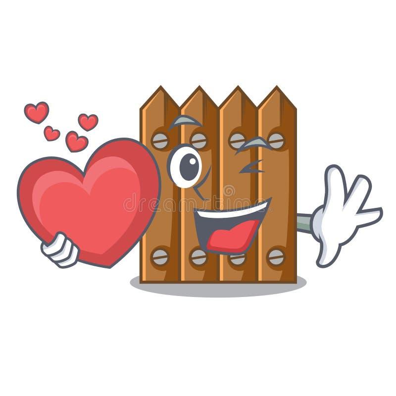 Met de houten omheining van het hartbeeldverhaal over het gras stock illustratie