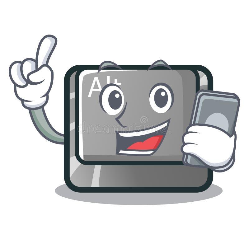 Met de knoop van telefoonalt in de beeldverhaalvorm stock illustratie