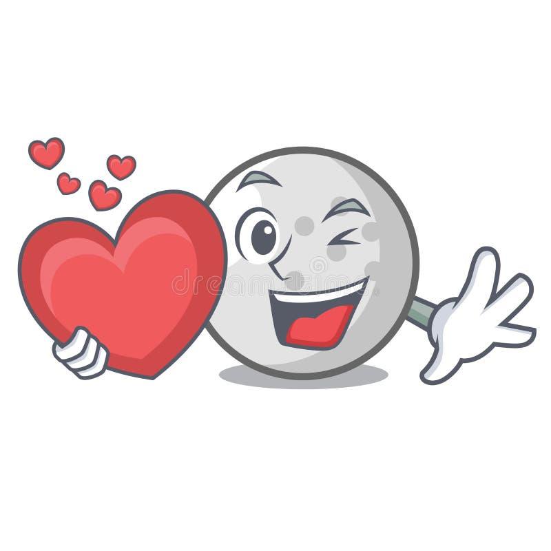 Met de mascottebeeldverhaal van de hartgolfbal royalty-vrije illustratie