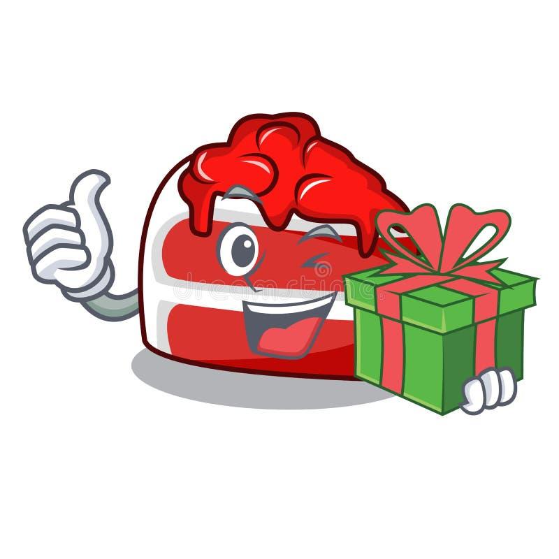 Met de mascottebeeldverhaal van het gift rood fluweel vector illustratie
