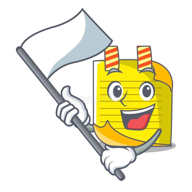 Met de notadocument van de vlagmascotte met referentie vector illustratie
