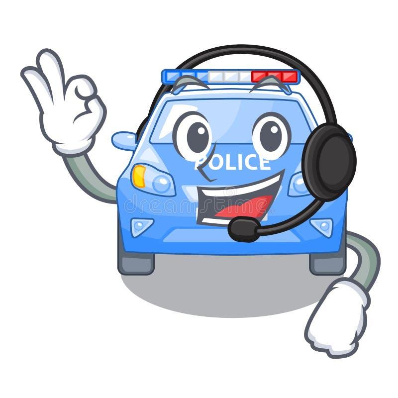 Met de politie van de hoofdtelefoonauto met in mascotte wordt geïsoleerd die vector illustratie