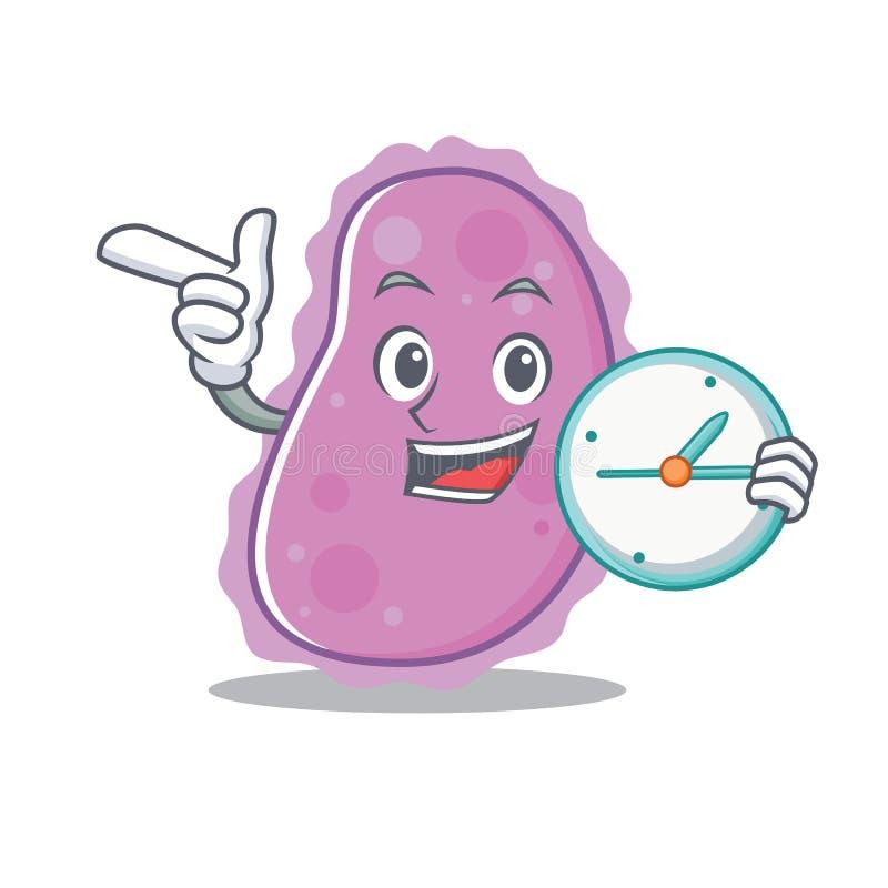 Met de stijl van het het karakterbeeldverhaal van klokbacteriën stock illustratie
