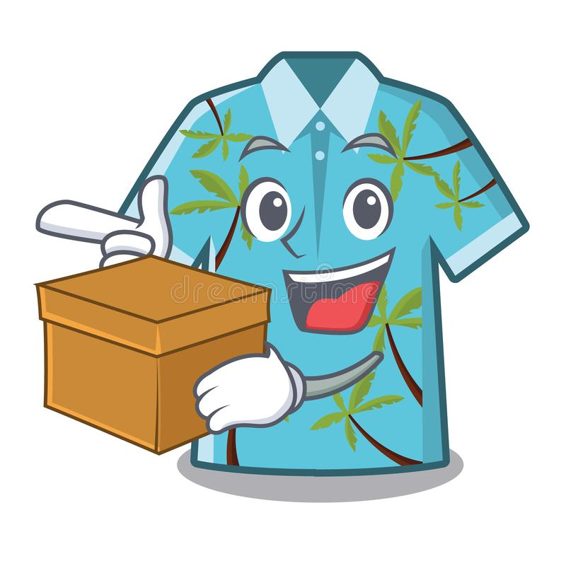 Met doos Hawaiiaans die overhemd in het karakter wordt geïsoleerd royalty-vrije illustratie