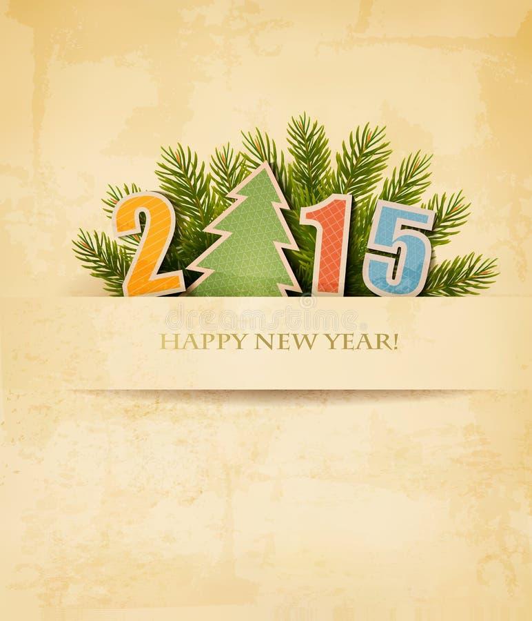 2015 met een Kerstboom op oude document achtergrond
