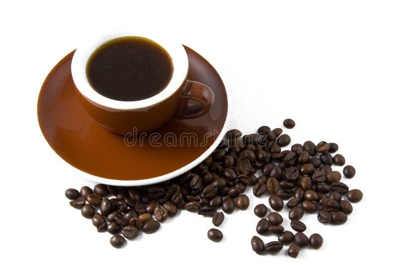 Met een kop van koffie en koffieboon royalty-vrije stock foto