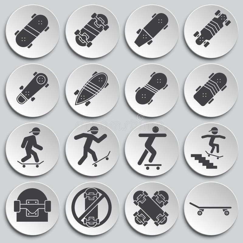 Met een skateboard rijdend verwante die pictogrammen op achtergrond voor grafisch en Webontwerp worden geplaatst Eenvoudige illus royalty-vrije illustratie