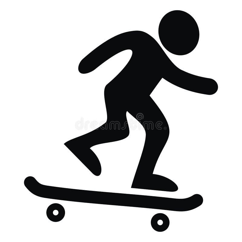 Met een skateboard rijdend, zwart silhouet, vectorpictogram royalty-vrije illustratie