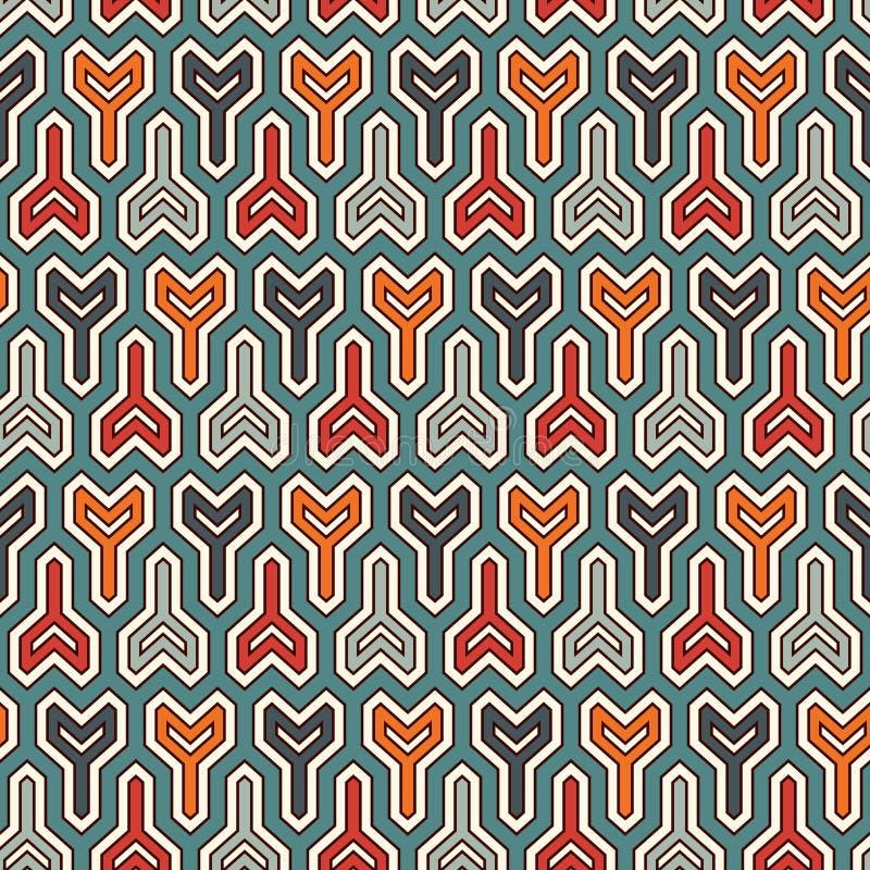 Met elkaar verbindende drie met een riek omgewoelde blokkenachtergrond Het motief van spoelsleutels Etnisch naadloos oppervlaktep royalty-vrije illustratie