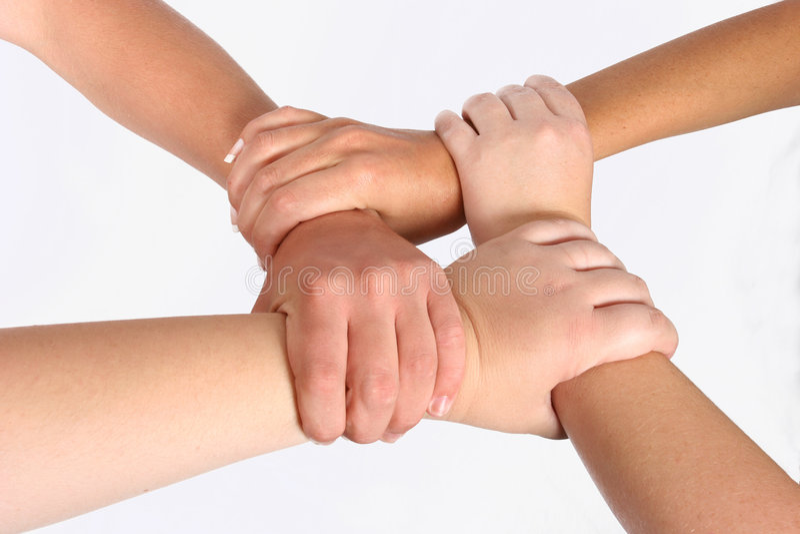 Met elkaar verbonden handen stock afbeelding