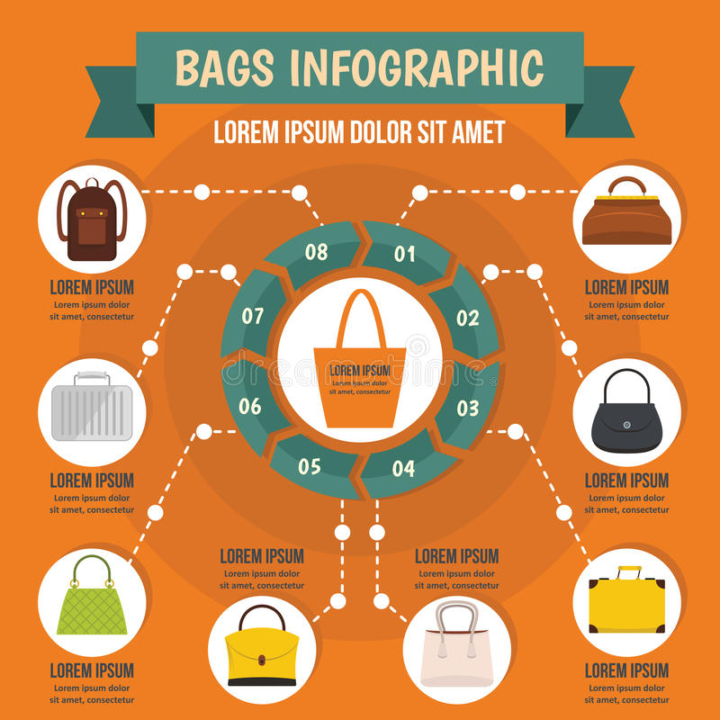 Met en sac le concept infographic, style plat illustration de vecteur