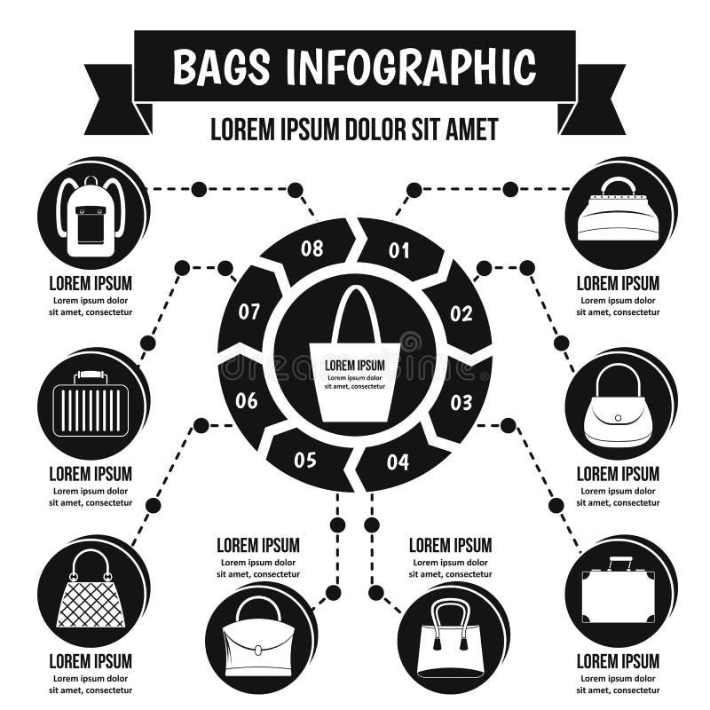 Met en sac le concept infographic, style simple illustration libre de droits