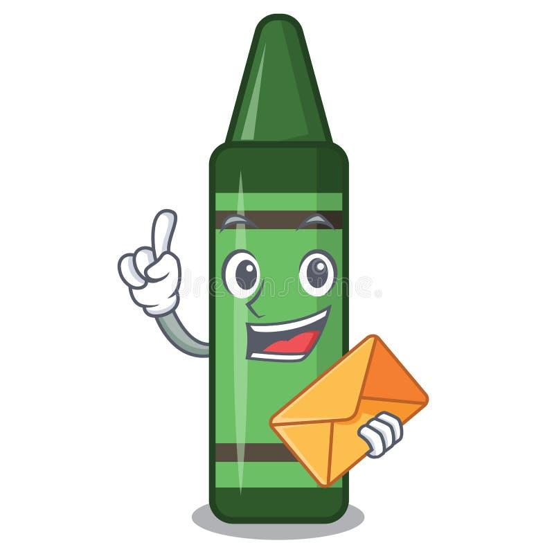 Met envelop groen die kleurpotlood in het beeldverhaal wordt geïsoleerd royalty-vrije illustratie