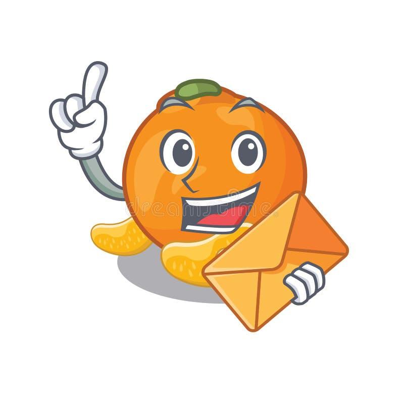 Met envelop wordt de mandarijn opgeslagen in beeldverhaalijskast royalty-vrije illustratie