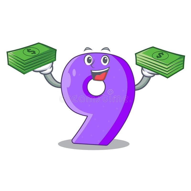 Met geld nummer Negen gestalte gegeven ballondoopvont charcter vector illustratie