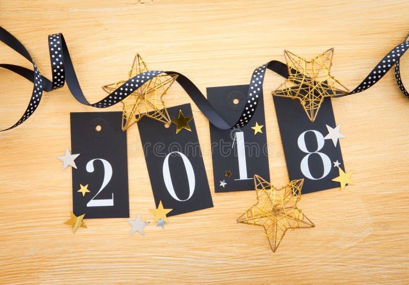 2018 met glitterydecoratie royalty-vrije stock afbeelding