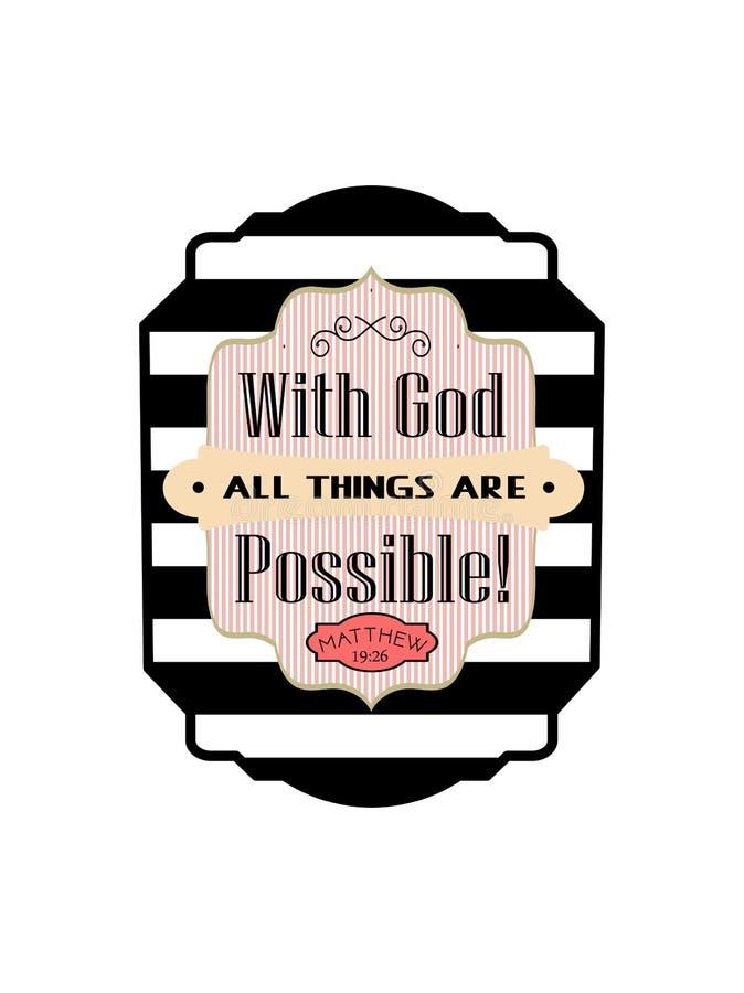 Met god zijn alle dingen mogelijk Bijbelse gestreepte sticker met vershand het van letters voorzien royalty-vrije stock afbeeldingen