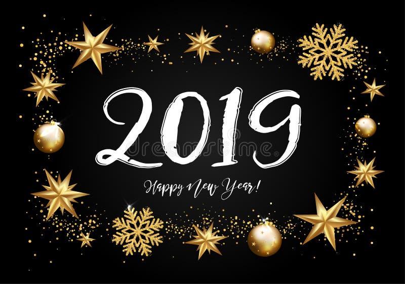 2019 met gouden Kerstmissterren, sneeuwvlokken, die op een bla van letters voorzien vector illustratie