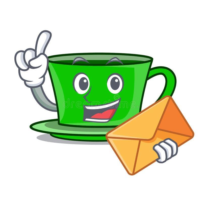 Met het karakterbeeldverhaal van de envelop groen thee royalty-vrije illustratie