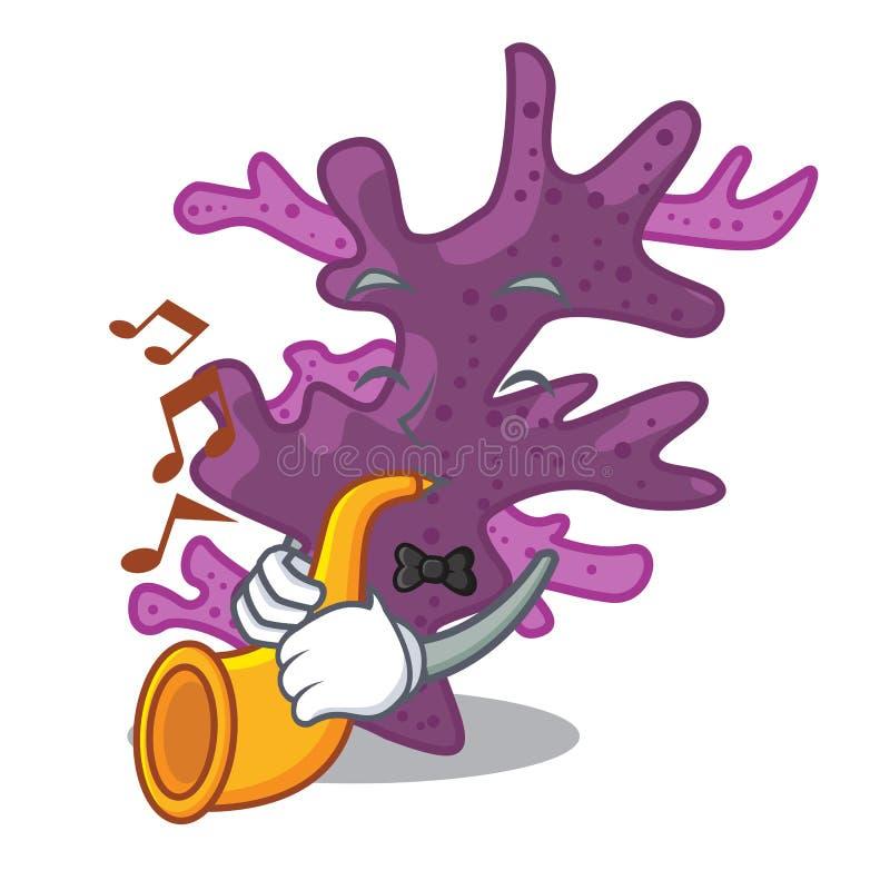Met het purpere koraalrif van het trompetbeeldverhaal onder overzees royalty-vrije illustratie