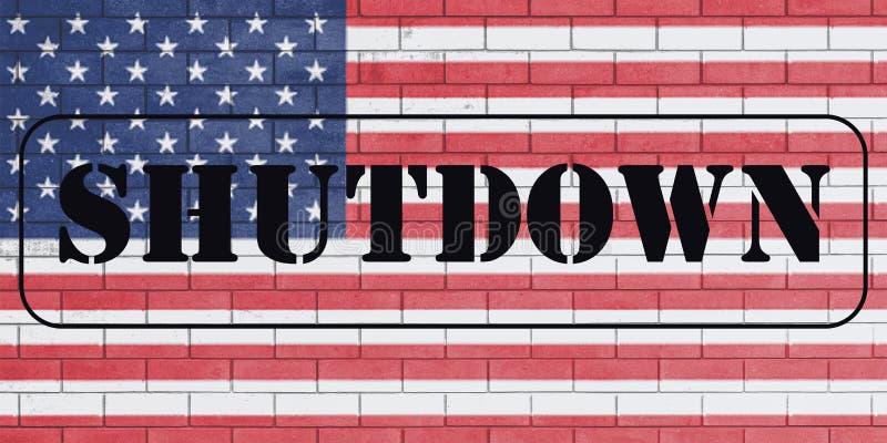 Met het woord 'Sluiting 'op vlag van Verenigde Staten stock foto