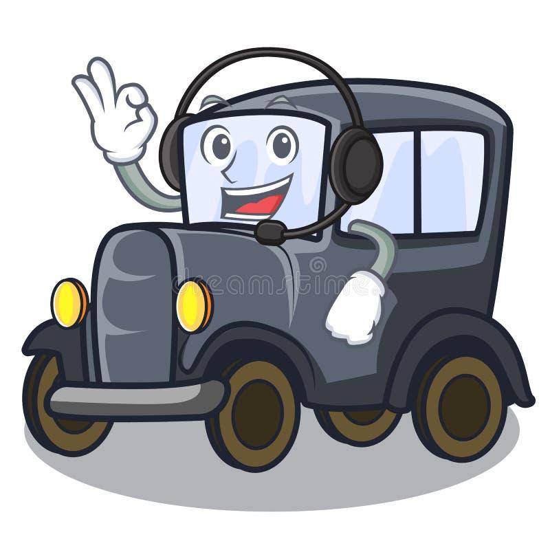 Met hoofdtelefoon oude miniatuurauto in vormmascotte stock illustratie