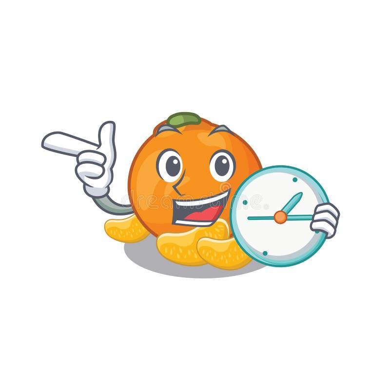 Met klok wordt de mandarijn opgeslagen in beeldverhaalijskast vector illustratie