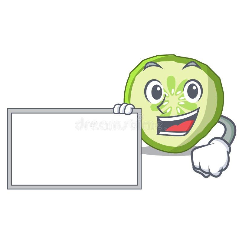 Met komkommer van de raads de verse plak op karakterbeeldverhaal vector illustratie