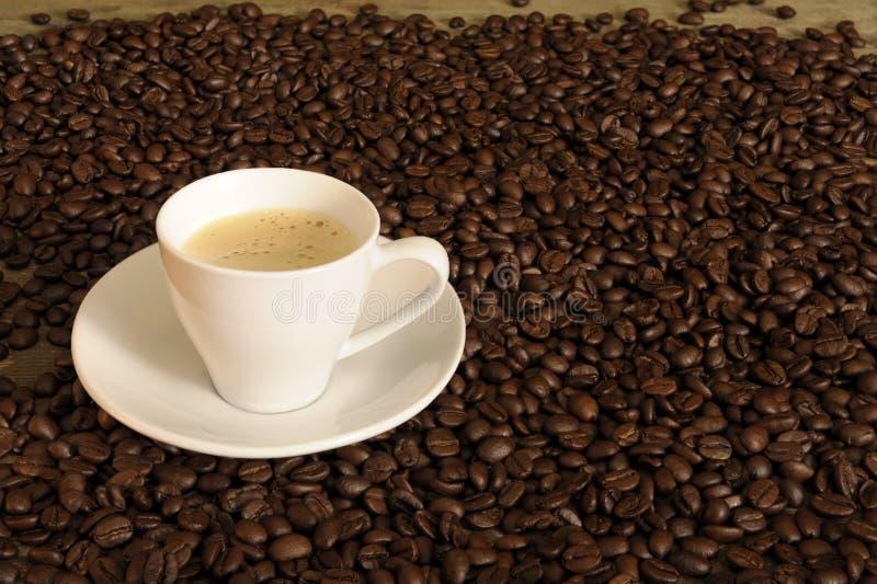 Met kop van koffie tussen bonen royalty-vrije stock afbeeldingen
