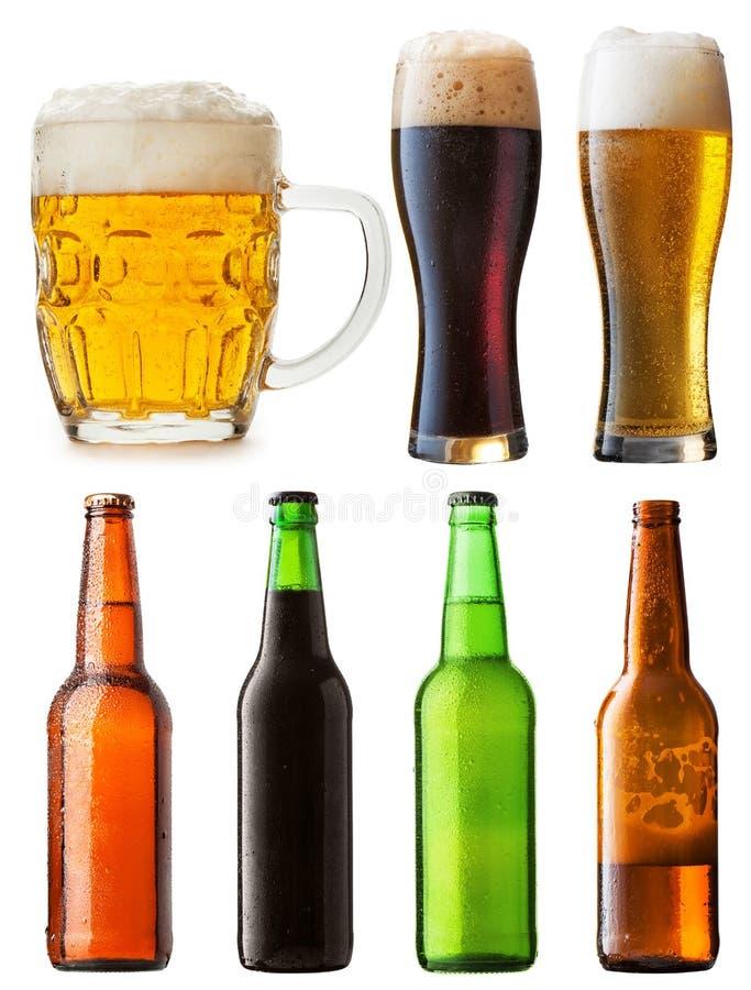 Met la bière en bouteille image libre de droits
