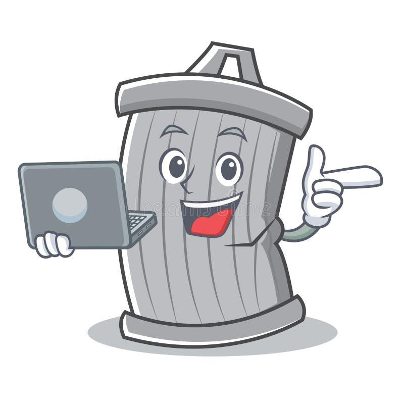 Met laptop het beeldverhaalstijl van het afvalkarakter royalty-vrije illustratie