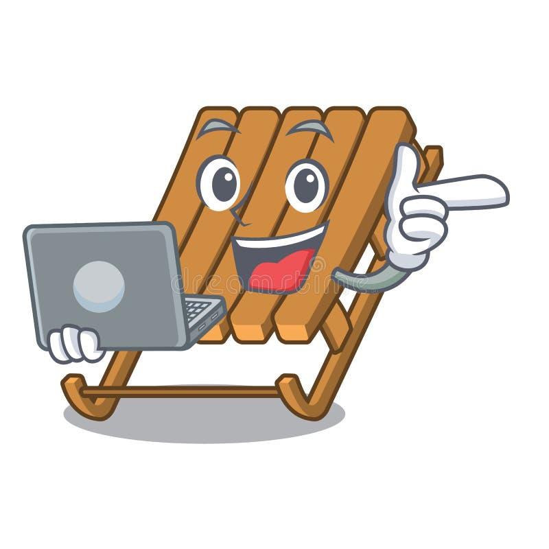 Met laptop ijsslee in de mascottevorm stock illustratie