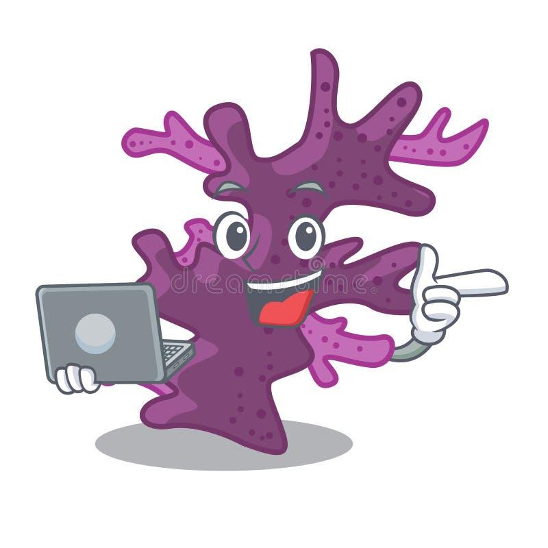 Met laptop purper koraalrif in beeldverhaalaquarium stock illustratie