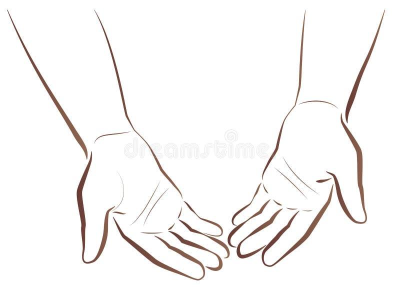 Met lege handen Bedelend Slechte Bedelaar vector illustratie