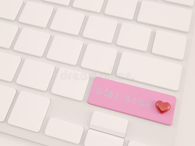 Met liefdetekst, hart op hoofdlettertoets royalty-vrije stock afbeelding