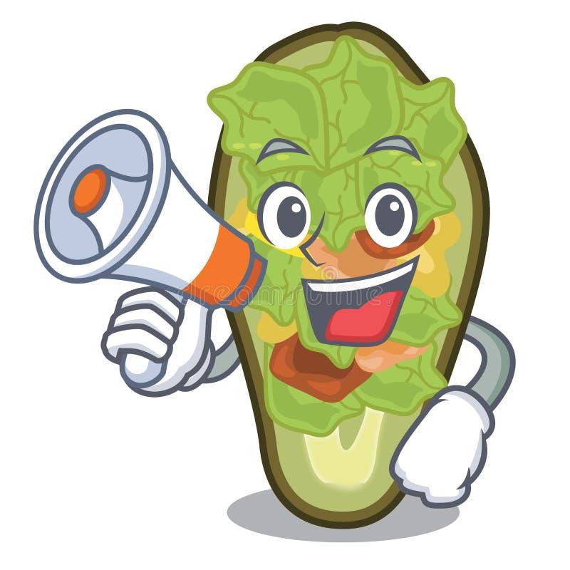 Met megafoon gevulde die avocado met het beeldverhaal wordt geïsoleerd royalty-vrije illustratie